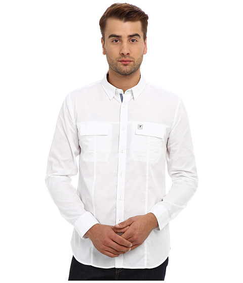 Marc Ecko Cut & Sew - Intent Military L/S Woven (White) Men's Long Sleeve Button Up
