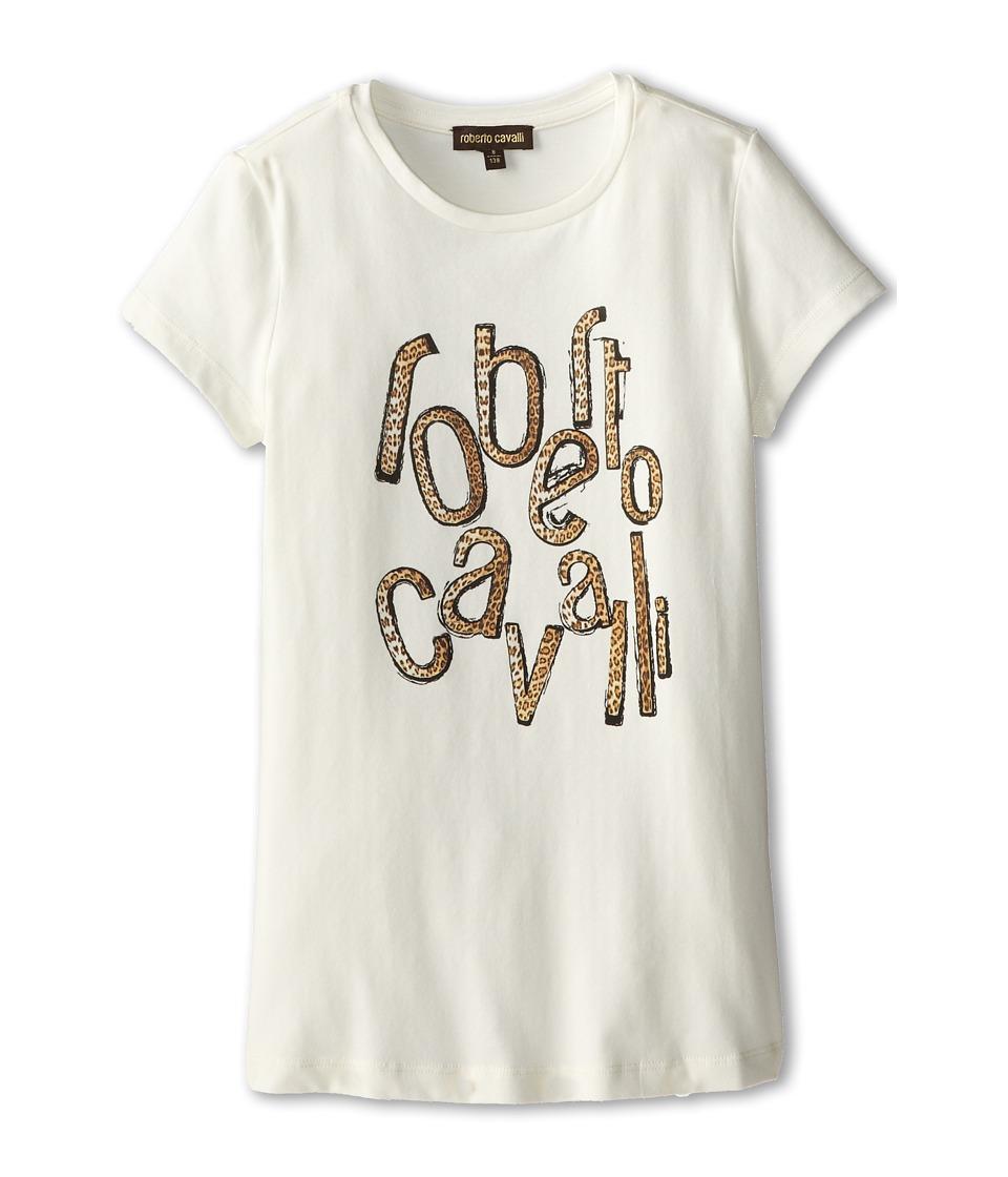 Roberto Cavalli Kids - Leopard Logo Print Jersey Tee Shirt (Big Kids) (Off White) Girl