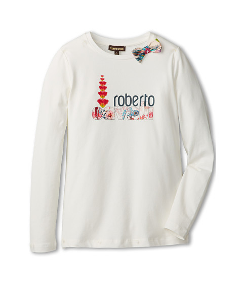 Roberto Cavalli Kids - L/S Top w/ Front Print and Woven Bow on Collar (Big Kids) (Off White) Girl