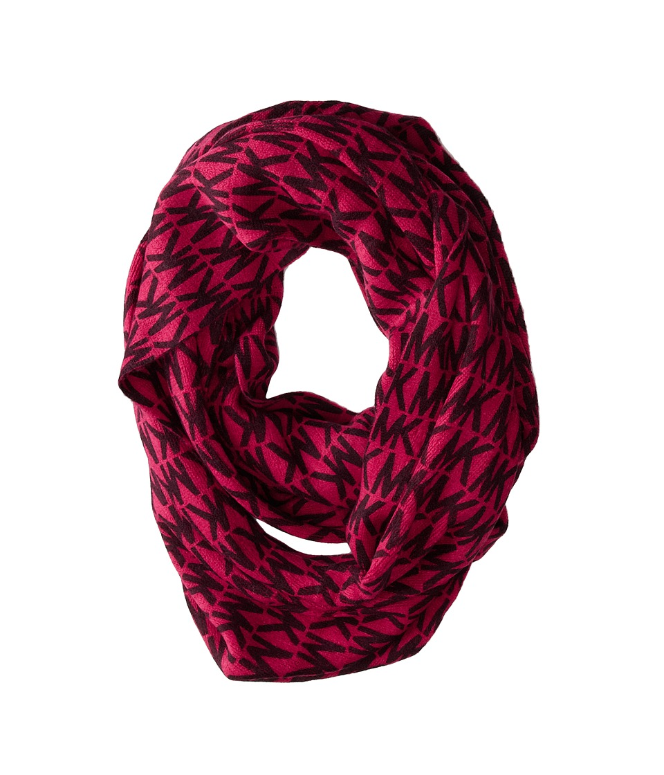 MICHAEL Michael Kors - MK Repeat Logo Large Printed Infinity (Derby/Shocking Pink) Scarves