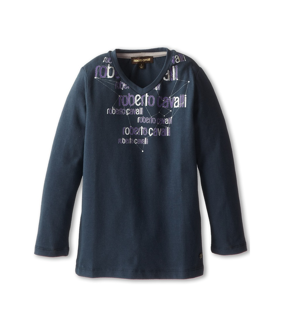 Roberto Cavalli Kids - V-Neck Logo Printed Soft Jersey Tee (Toddler/Little Kids) (Blue Grey) Boy's T Shirt