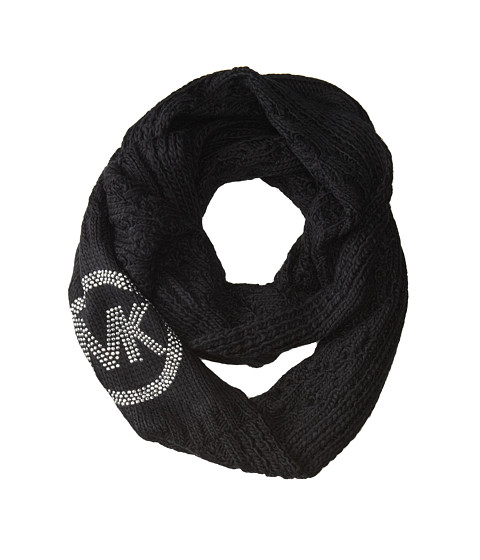 MICHAEL Michael Kors - Cable Infinity Scarf w/ MK Logo (Black) Scarves