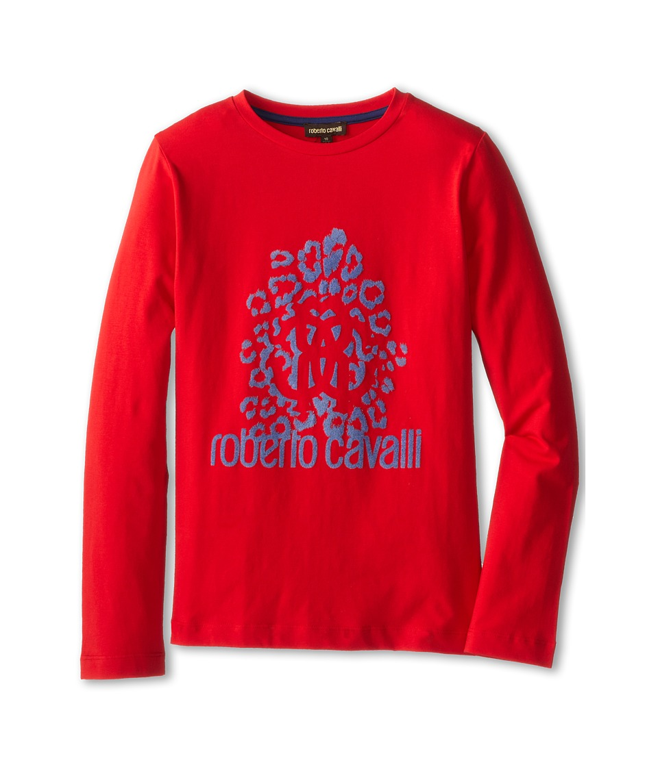 Roberto Cavalli Kids - Flocked Front Print L/S Tee (Big Kids) (Red) Boy's Long Sleeve Pullover