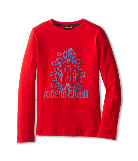Roberto Cavalli Kids - Flocked Front Print L/S Tee (Big Kids) (Red) Boy