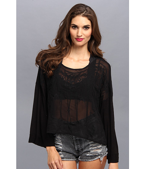 Free People - Pandora's Embroidered Top (Black) Women's Long Sleeve Pullover