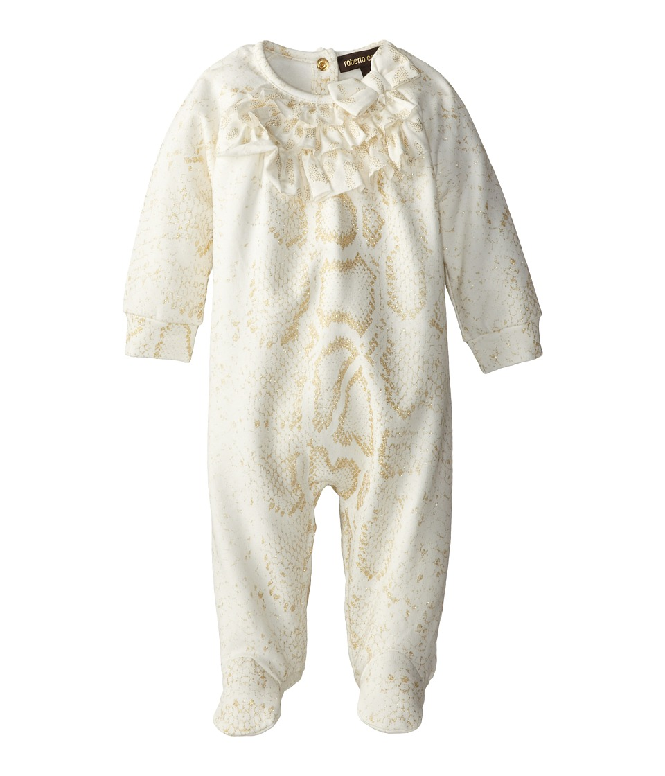 Roberto Cavalli Kids - Lurex Snake Print on Fleece Footie (Infant) (Off White/Gold) Girl