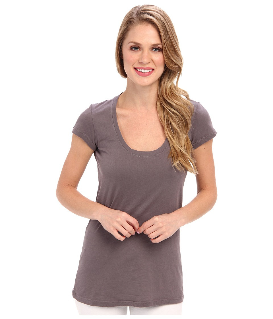 Allen Allen - Basic Cap Sleeve Scoop Neck Tee (Dark Grey) Women's T Shirt