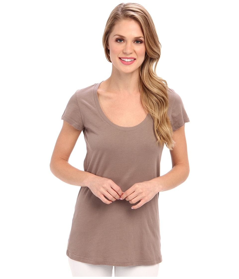 Allen Allen - Basic Cap Sleeve Scoop Neck Tee (Mushroom) Women's T Shirt