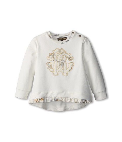 Roberto Cavalli Kids - Crest Applique Tee w/ Ruffle Hem (Infant 2) (Off White) Girl