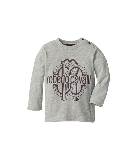 Roberto Cavalli Kids - Printed L/S Jersey Tee (Infant 2) (Grey) Boy's T Shirt