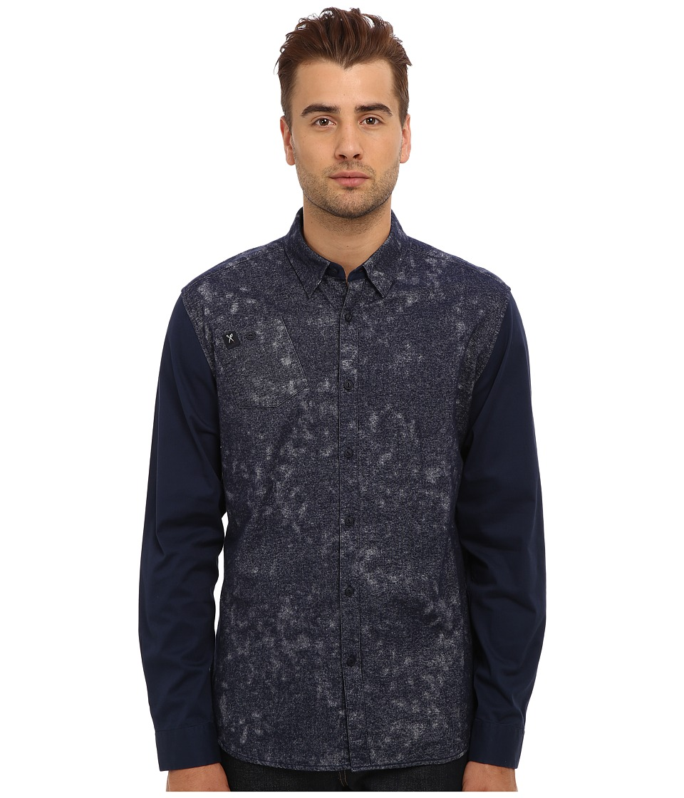 Marc Ecko Cut & Sew - Burnished L/S Woven (Navy) Men's Long Sleeve Button Up