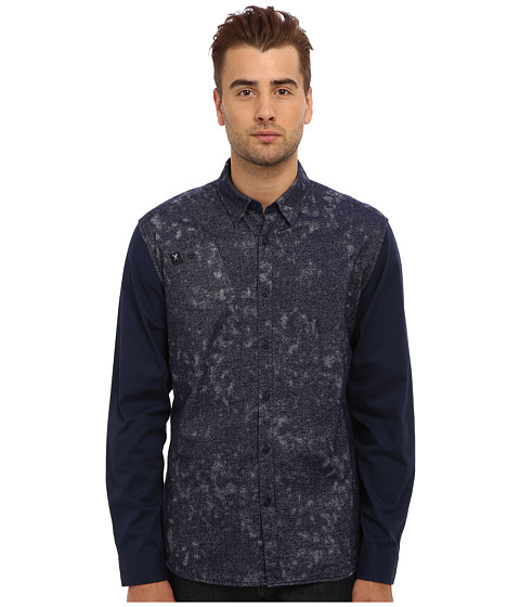 Marc Ecko Cut & Sew - Burnished L/S Woven (Navy) Men