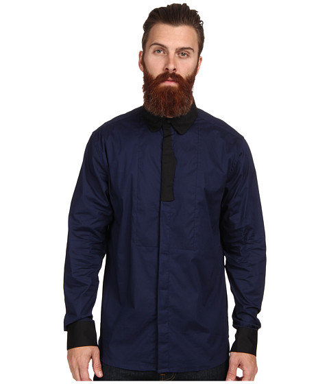 Marc Ecko Cut & Sew - Tuxed Out L/S Woven (Navy) Men's Long Sleeve Button Up
