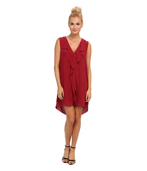 BCBGMAXAZRIA - Jena Sleeveless Front Ruffle Shift Dress (Ruby) Women's Dress
