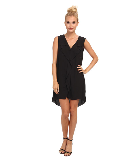 BCBGMAXAZRIA - Jena Sleeveless Front Ruffle Shift Dress (Black) Women