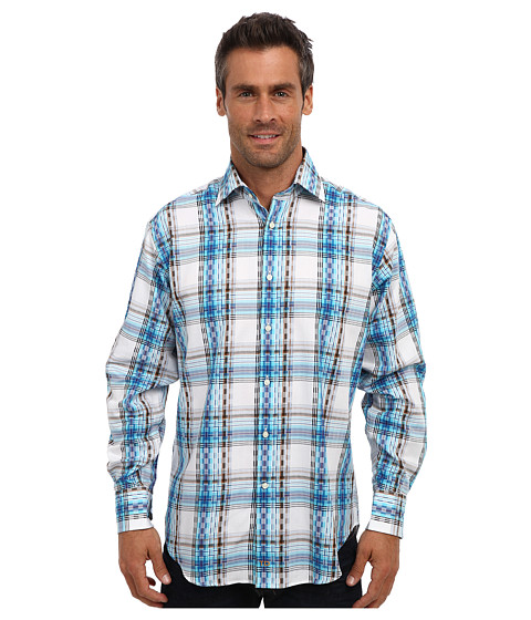 Thomas Dean & Co. - L/S Higher Spread Collar Graphic Windowpane (Blue) Men's Long Sleeve Button Up
