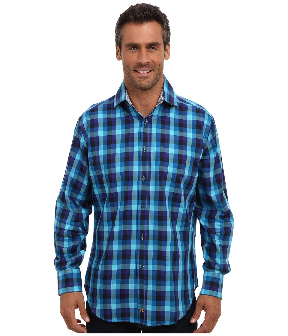 Thomas Dean & Co. - L/S Spread Collar Bold Woven Check (Blue) Men's Long Sleeve Button Up