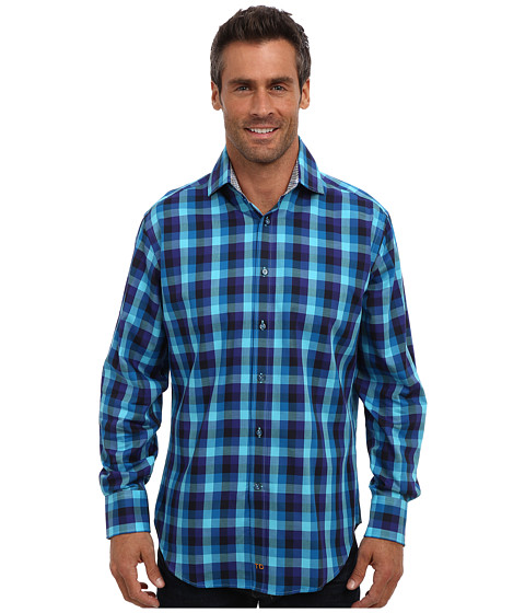 Thomas Dean & Co. - L/S Spread Collar Bold Woven Check (Blue) Men's Long Sleeve Button Up