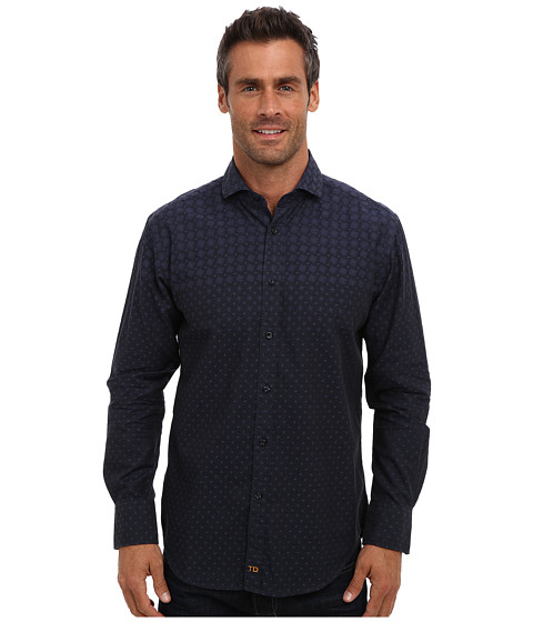 Thomas Dean & Co. - L/S Modern Spread Collar Engineered Print (Navy) Men's Long Sleeve Button Up