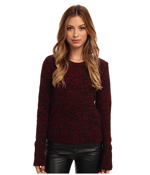 Autumn Cashmere - Tweed Crew w/ Snake Top (Cabernet/Black) Women