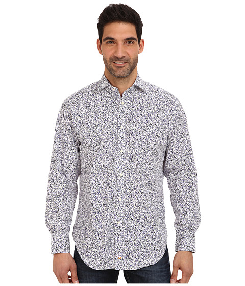 Thomas Dean & Co. - L/S Spread Collar Tiny Splash Print Sport Shirt (Cobalt/Cobalt/Academy) Men's Long Sleeve Button Up