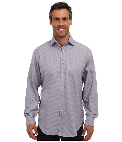 Thomas Dean & Co. - L/S Spread Collar Textured Solid (Purple) Men's Long Sleeve Button Up
