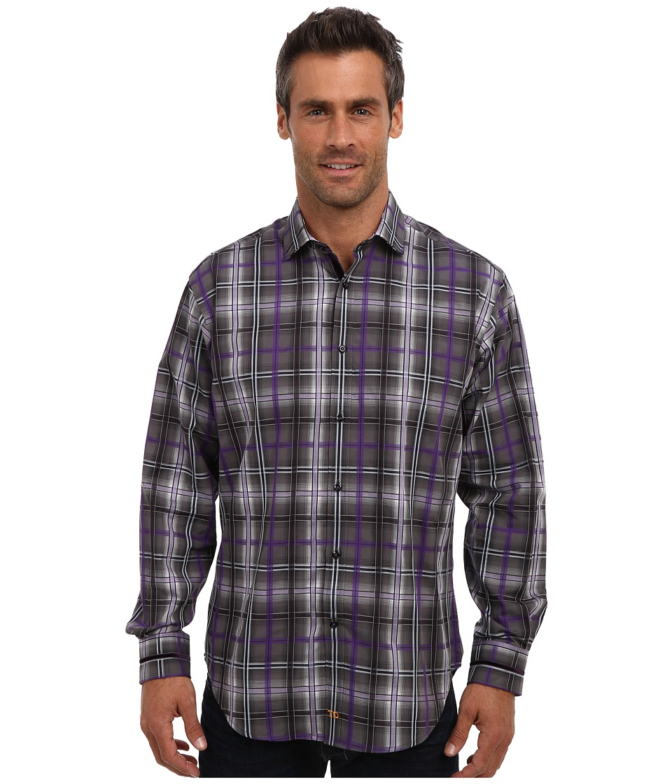 Thomas Dean & Co. - L/S Modern Spread Collar Textured Windowpane (Purple) Men's Long Sleeve Button Up