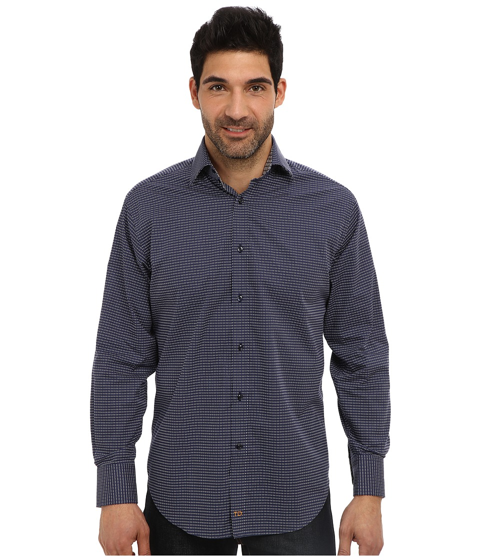 Thomas Dean & Co. - L/S Spread Collar Small Poplin Print (Navy) Men's Long Sleeve Button Up
