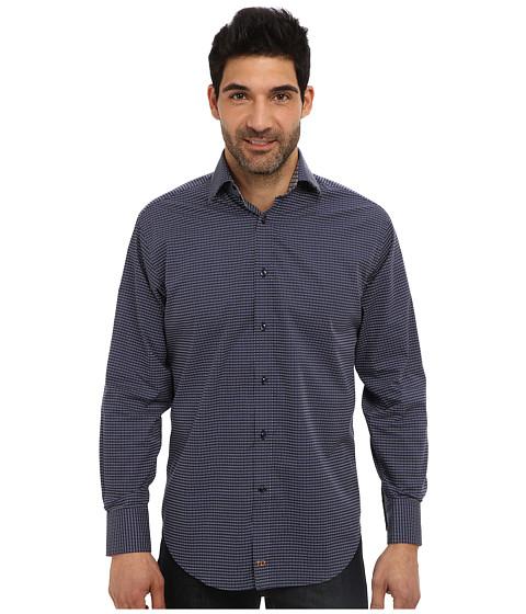 Thomas Dean & Co. - L/S Spread Collar Small Poplin Print (Navy) Men's Long Sleeve Button Up