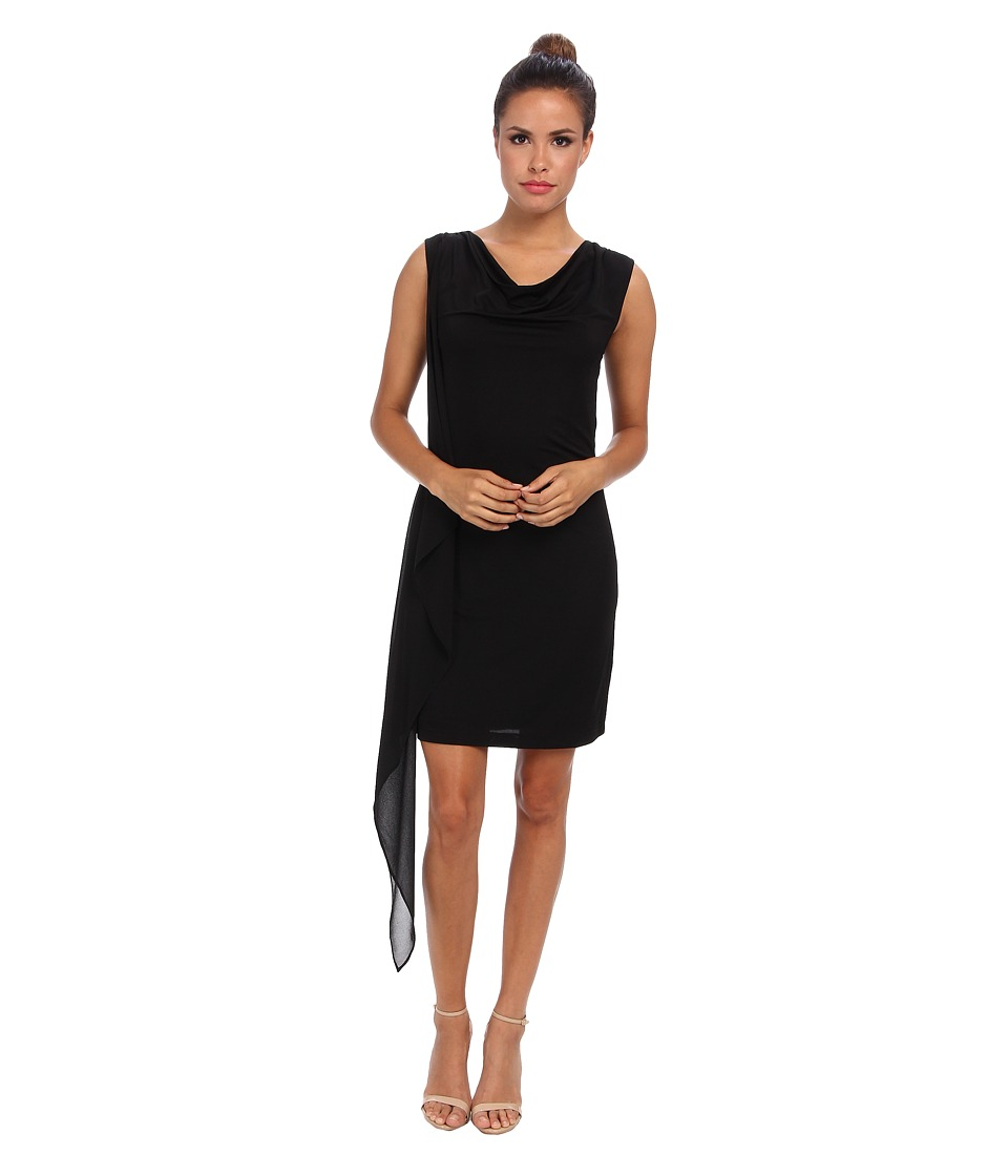 BCBGMAXAZRIA Malory Cowl Neck Side Cascade Dress (Black) Women
