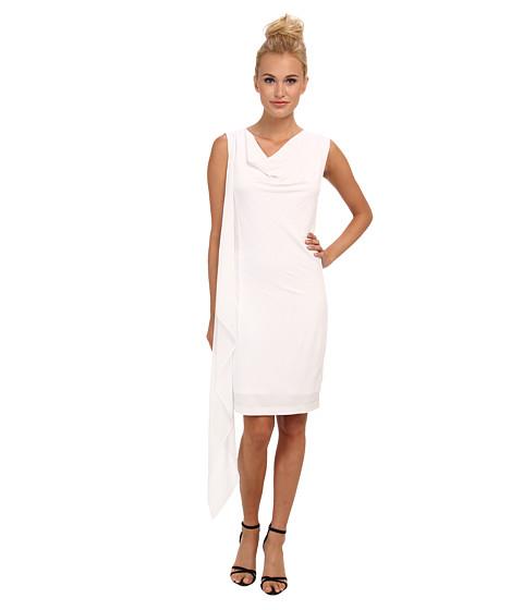 BCBGMAXAZRIA - Malory Cowl Neck Side Cascade Dress (White) Women's Dress