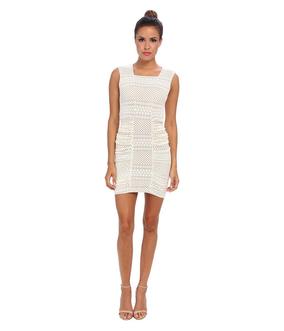 BCBGMAXAZRIA - Renee Side Rouched Center Pannel Dress (Ivory) Women's Dress