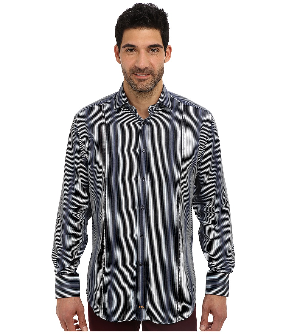 Thomas Dean & Co. - L/S Spread Front Gussets Variegated Stripe (Navy) Men's Long Sleeve Button Up