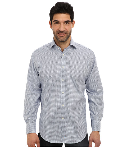 Thomas Dean & Co. - L/S Spread Collar Satin-Finish Check (Blue) Men's Long Sleeve Button Up