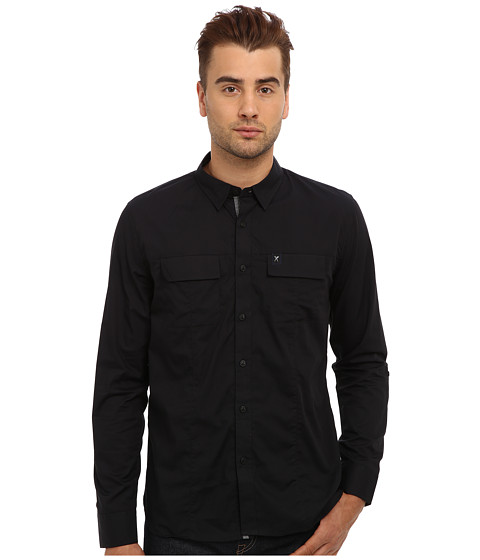 Marc Ecko Cut & Sew - Intent Military L/S Woven (Black) Men's Long Sleeve Button Up