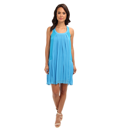 Aryn K - Drop Waist Pleated Tank Dress (Blue) Women