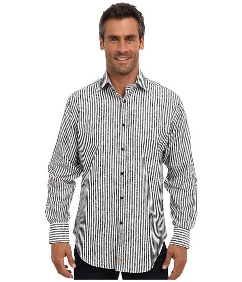 Thomas Dean & Co. - L/S Spread Collar Stripe w/ Bold Jacquard (Grey) Men's Long Sleeve Button Up