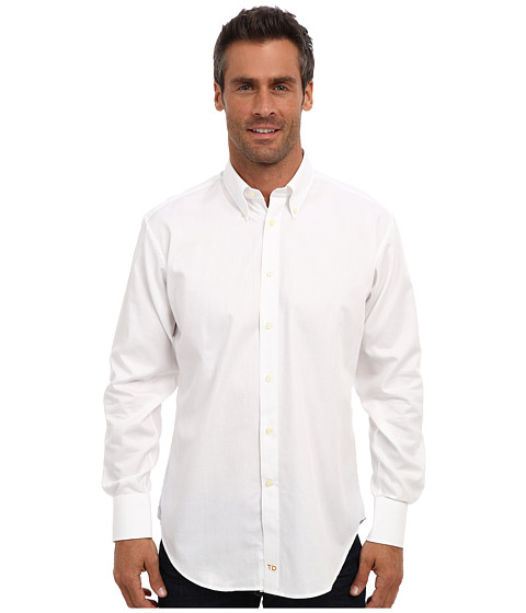 Thomas Dean & Co. - L/S BD Collar Herringbone w/ Paisley Jackquard (White) Men's Long Sleeve Button Up