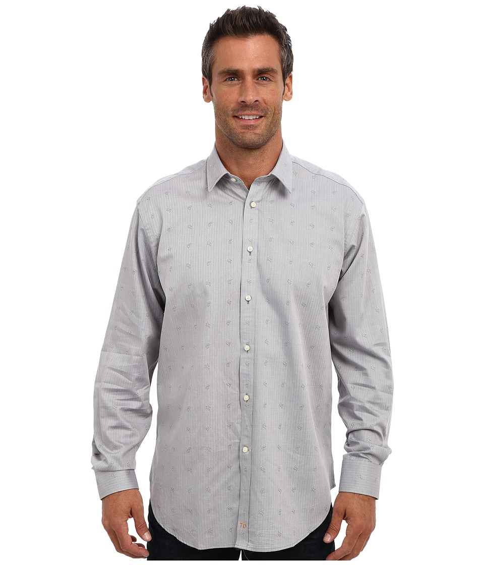 Thomas Dean & Co. - L/S Modern Spread Herringbone w/ Paisley (Grey) Men's Long Sleeve Button Up