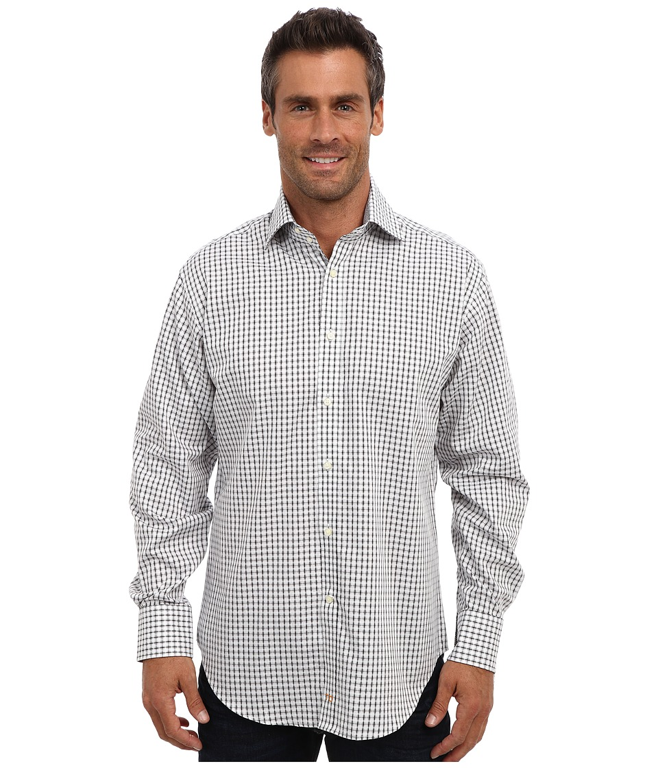Thomas Dean & Co. - L/S Spread Collar Jacquard Check (Black) Men's Long Sleeve Button Up