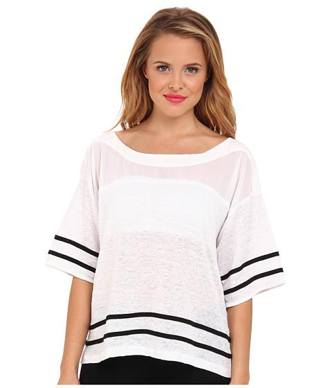 Aryn K - Boxy Tee w/ Contrast Stripe (White) Women's Blouse