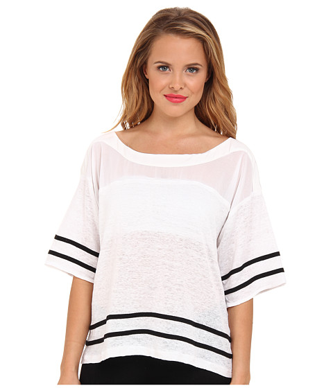 Aryn K - Boxy Tee w/ Contrast Stripe (White) Women