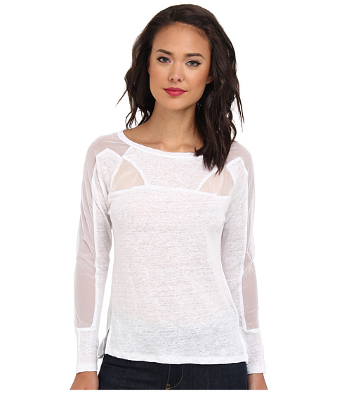 Aryn K - L/S Top w/ Sheer Panels (White) Women