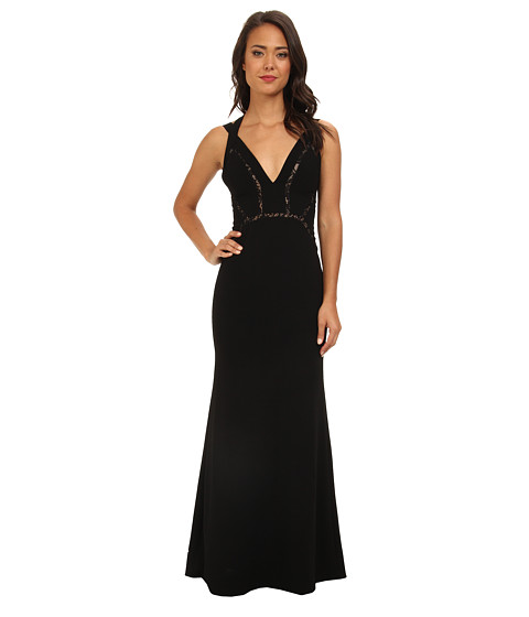 BCBGMAXAZRIA - Penelopey Long Halter V-Neck Gown (Black) Women's Dress