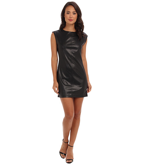 BCBGMAXAZRIA - Karlee Faux Leather Shift Dress (Black) Women's Dress