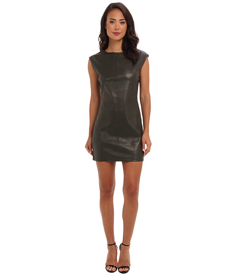 BCBGMAXAZRIA - Karlee Faux Leather Shift Dress (Deep Olive) Women