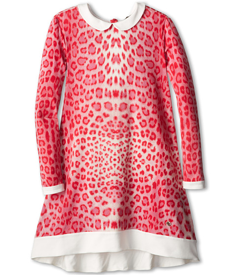 Roberto Cavalli Kids - Red Leopard Print Flare Dress w/ White Collar (Big Kids 2) (Red Leopard) Girl