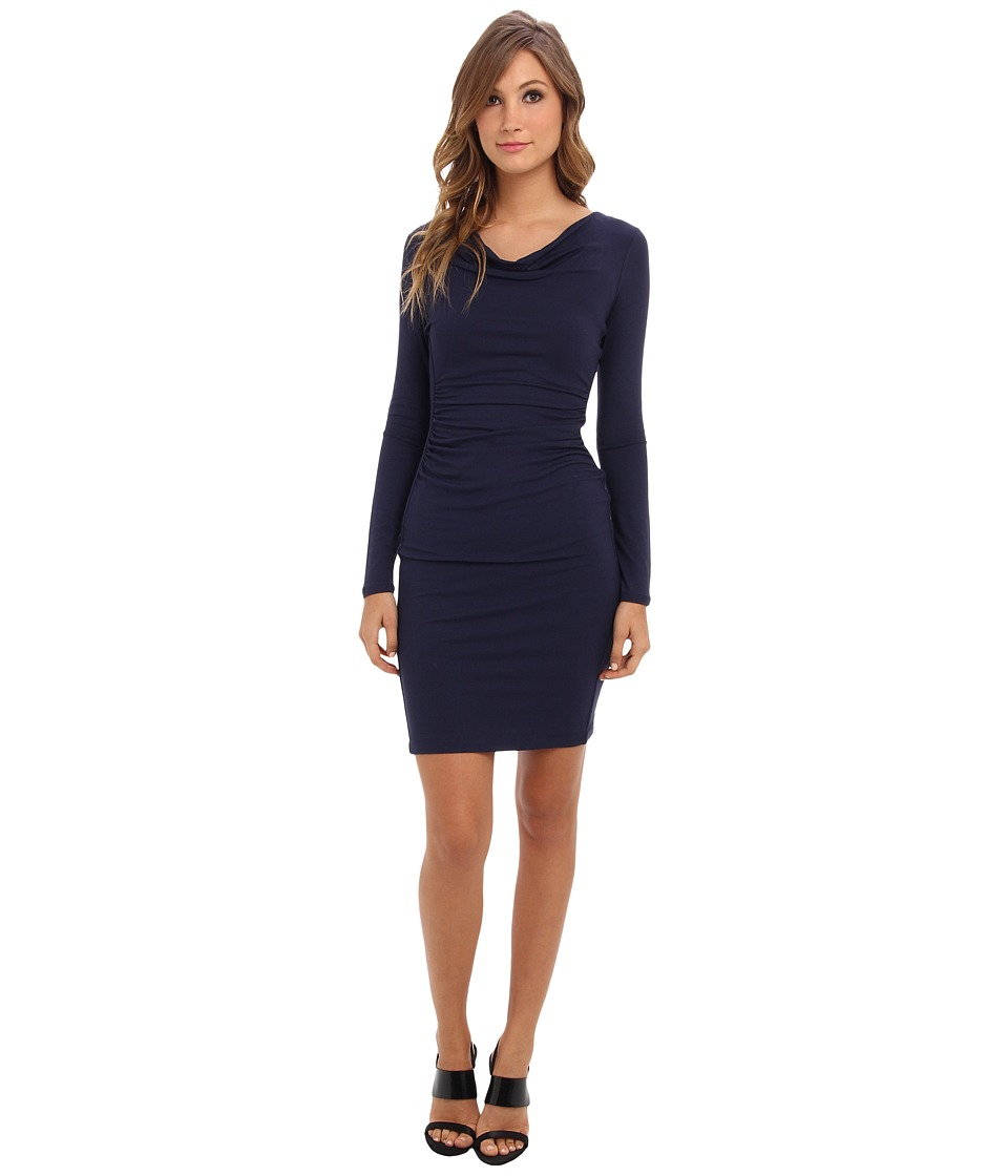 BCBGMAXAZRIA - Anyika Fitted Cowl Neck Dress (Dark Navy) Women