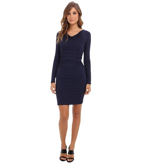 BCBGMAXAZRIA - Anyika Fitted Cowl Neck Dress (Dark Navy) Women's Dress