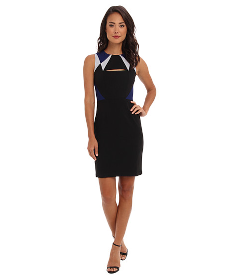 BCBGMAXAZRIA - Karin Color Blocked Cutout Detail Dress (Black Combo) Women